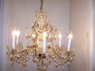 Charming Golden Brass Crystal Prism Pendent Chandelier Quality 2000s Fixture photo