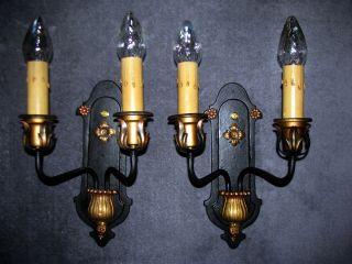 2 Vtg Cast Brass / Steel Art Deco Sconces Chandelier Wall Light Fixture photo