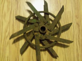 Antique Steel Old Iron Wall Decor Garden Gear Steampunk Lamp Base Repurpose photo