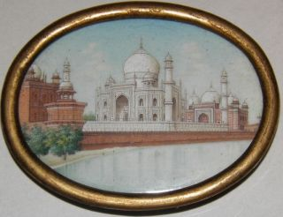 19th C.  Taj Mahal Hand Painted Miniature Awesome photo