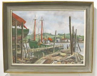 Orig 1958 J.  G.  Grossman Oil On Board Painting California Fishing Dock Boats Yqz photo