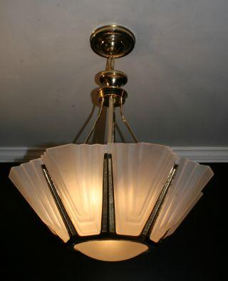 Mid Century Modern Sputnik Era Slip Shade Chandelier Light Fixture photo
