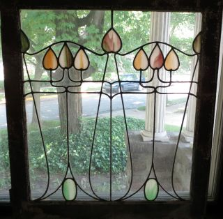 Vintage 1900 ' S Art Nouveau 3 ' Leaded Stained Art Glass Window Oak Door Frame 2 photo