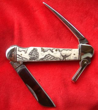 Hand Done,  Scrimshaw Art,  Ship,  Whale,  Island,  Marlin Spike Folding Knife/knives photo