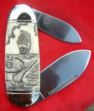 Nautical Scrimshaw Art,  Ship,  Breaching Whale,  Folding Knife/knives photo
