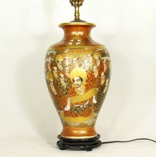 Antique Japanese Hand Painted Satsuma Ceramic Vase Mounted As Lamp C.  1890 Old photo