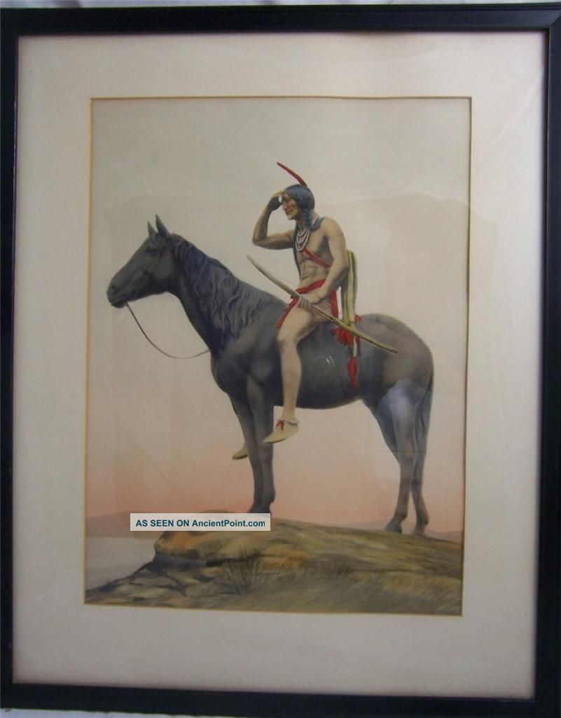 American Indian Scout Samuel Schiff Antique Hand Tinted Mezzotint Native American photo