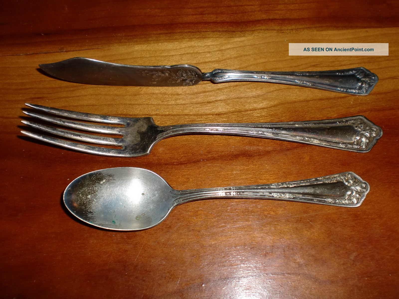 Antq Set Fork Spoon Knife Int ' L Wm Rogers & Sons Aa Silverplate 1913 Fair Oak International/1847 Rogers photo