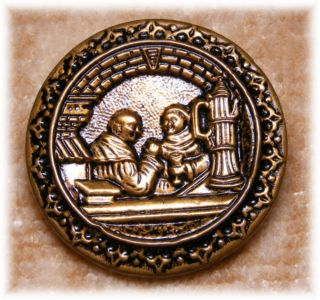 Antique Detailed Tinted Brass Figures Button Of Two Monks Relaxing 1 1/4