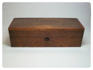 Antique 1800 ' S Wheeler & Wilson Sewing Wooden Carved Box Button Latch Velvet Int photo