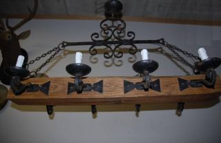Huge Wooden/wrought Iron 8 - Light Castle Chandelier photo