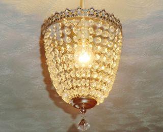 Vintage Retro Style Chandelier Light Glass Drops Baguette Bag Antique Chrome Bn photo