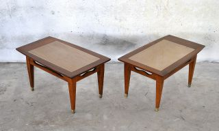 Pair Mid - Century Modern Marble Travertine Walnut Side Tables Nightstands 1960s photo