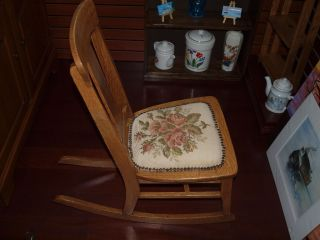 Antique Oak Child ' S Rocking Chair photo