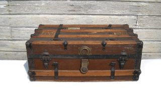 Antique Steamer Trunk - Flat Top - Coffee Table - Restoration Project photo