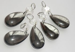 5 Laura Ashley Distress Mirrored Chandelier Droplets 38mm Almond Oval Bead Drops photo