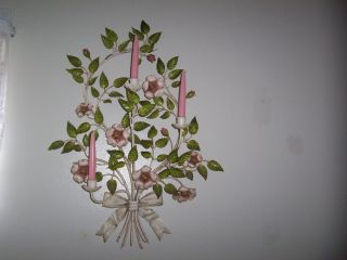 Gorgeous Large Tole Sconce With Roses photo