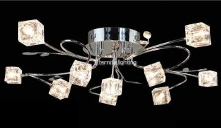 11 Light Square Clear Glass Cube Chrome Metal Leaf Bracket Ceiling Fixture Lamp photo