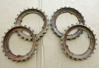 Vintage Of 4 Cast Iron Jd Planter Plates Steampunk Art Gears Farm Set photo