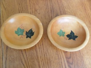 Two Vintage Munising Wood Bowls With Ivy Design photo