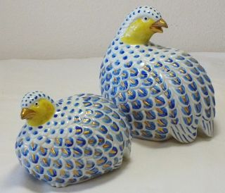 Mid - Century Signed Blue And White Ceramic Pair Of Quail photo