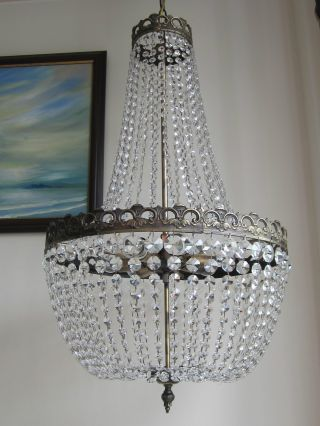 Large French Lead Crystal Chandelier Lustre Classic Empire Purse Lamp Light photo