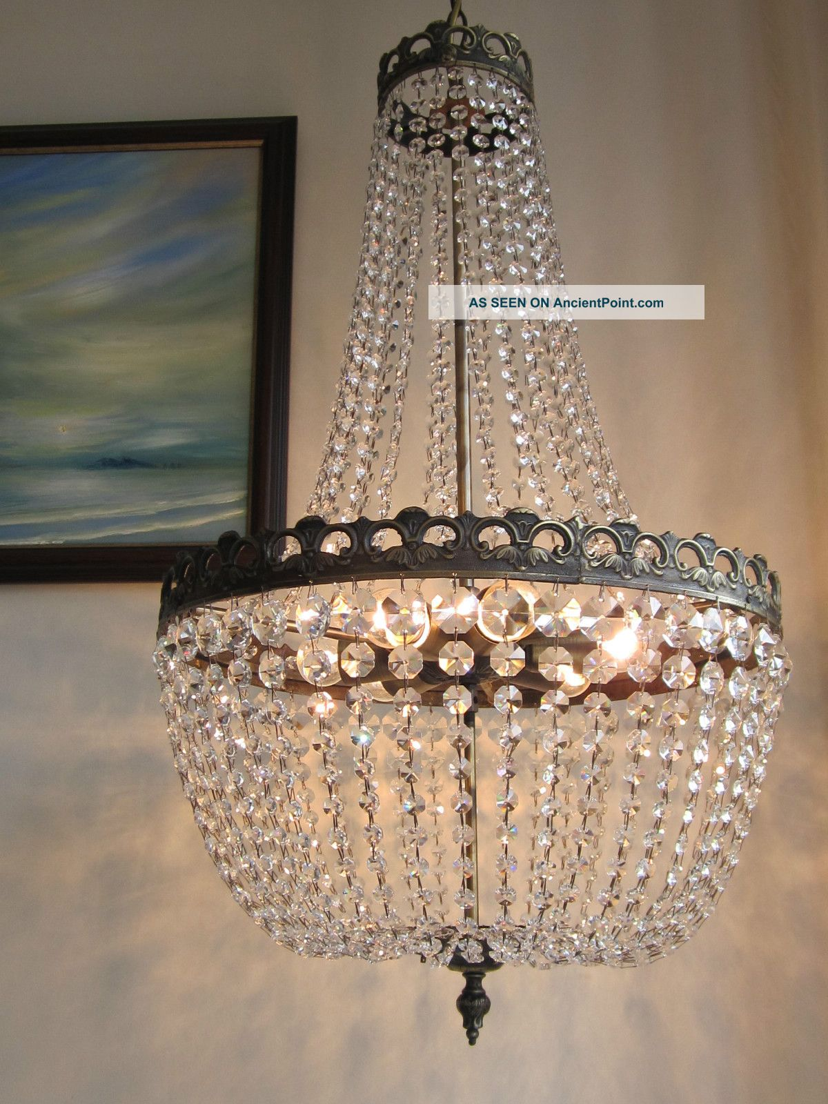 French Lead Crystal Chandelier Lustre Classic Empire Purse