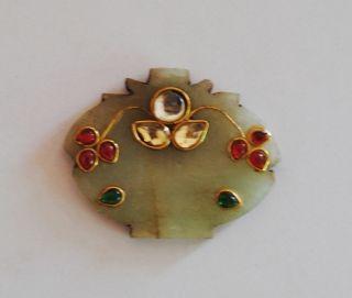 Old Indo Persian Mughal Rajput India Jade Stones Jeweled Pendant photo