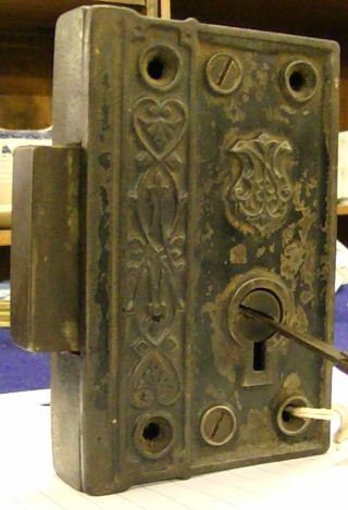 Antique Victorian Mortise Lock Works With Folding Skeleton Key Jn Fancy Iron photo