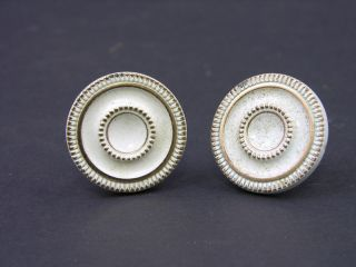 Vintage 1960s Brass Knobs With White Enamel & Gold Highlights,  Made In Canada photo