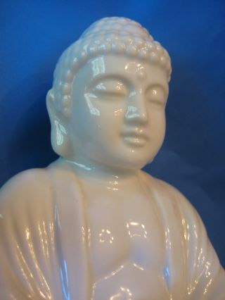Vintage Meditating Buddha Porcelain Figurine W/ Peaceful Serene Face,  Circa 1970 photo