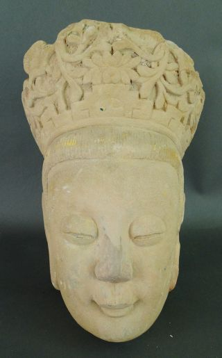 Antique Chinese Possible Yuan Dynasty Sandstone Polychrome Decorated Head Lohan photo