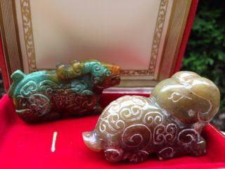 Antique 2p Vintage Carved 831ct Chinese Green Jadeite Jade Animals Figures Sheep photo