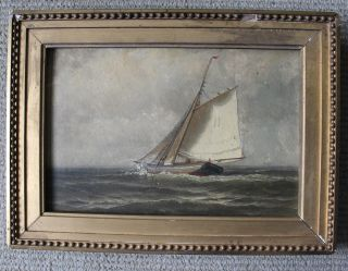 Antique Framed Oil Painting Of Pilot Boat 11/signed/william E.  Norton/1877 photo