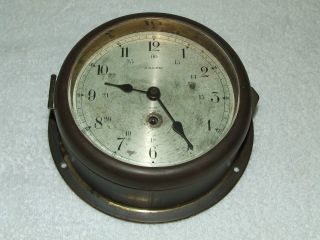Antique 1940 ' S Working Salem 8 Day Brass Maritime Ship Boat Clock 7 Jewel Swiss photo