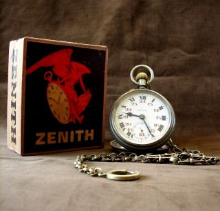 Antique Railroad Zenith Top Wind Pocket Watch Grand Prix Paris 1900 photo