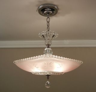 Vintage Antique Art Deco Starburst Candlewick Glass Ceiling Light Lamp Fixture photo