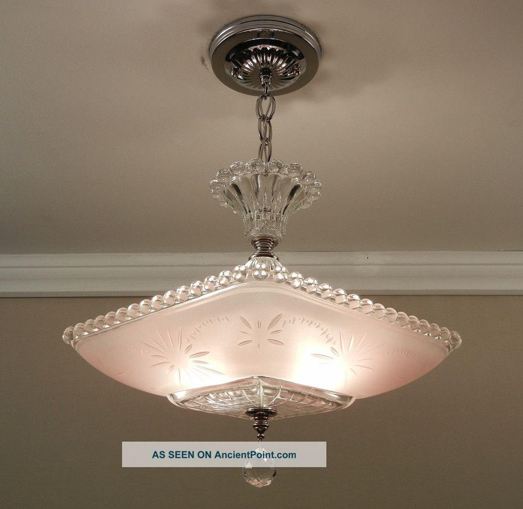 Antique Art Deco Starburst Candlewick Glass Ceiling Light Lamp Fixture ...