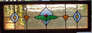 Stained Glass Window Transom - Wooden Frame Panel photo