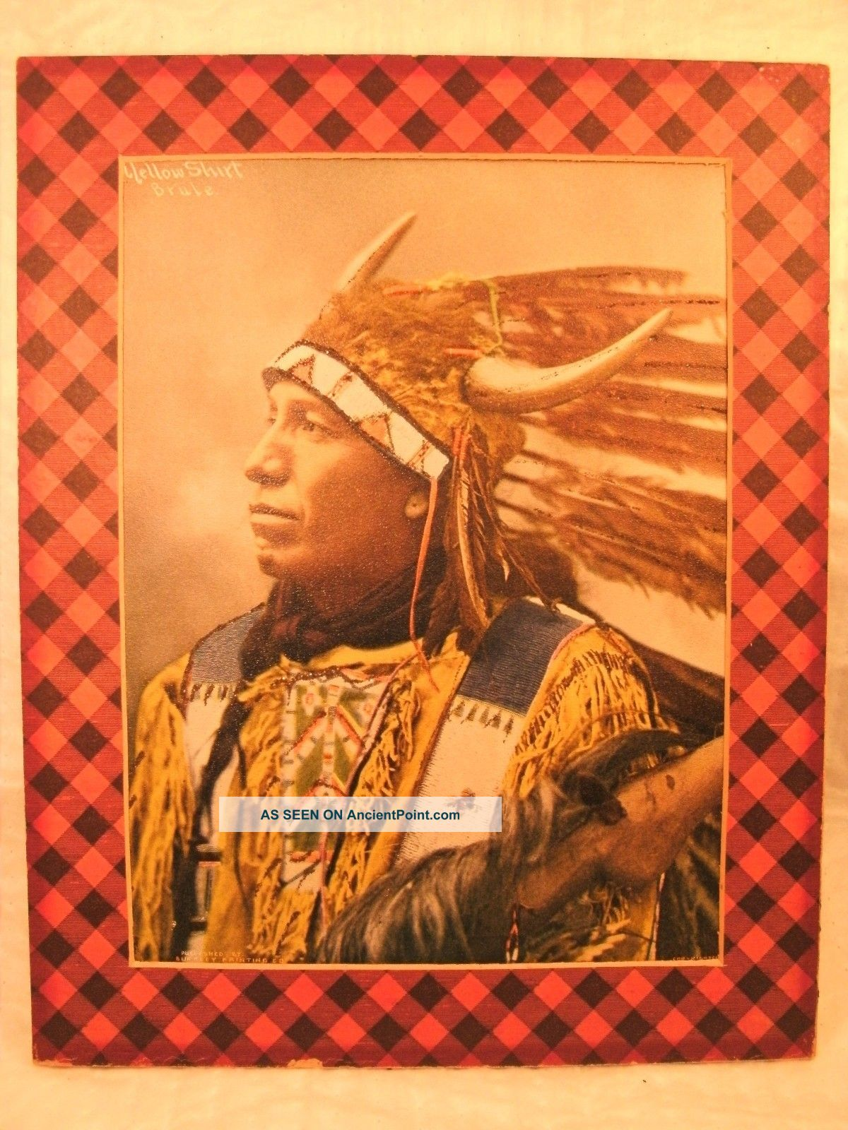 Antique 1899 Hunkpapa Sioux Chief ' Yellow Shirt ' Color Lithograph Print Native American photo