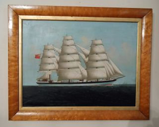 Mid 19th Century Oil On Canvas British Ship Portrait Painting photo