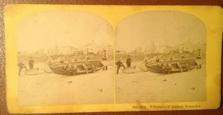 1870s Fishermen Of Quidnet,  Nantucket,  Massachusetts Stereoview Kilburn Brothers photo