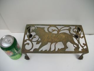 Antique English Fireplace Trivet / Footman Brass Figural Tiger Circa Early Table photo