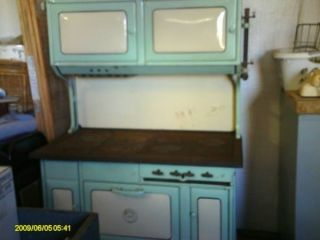Vintage Turquoise Windsor Cast Iron Wood Burning And Gas Porcelain Stove Reduced photo