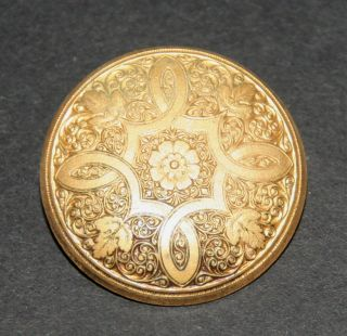 Antique Lg All Gilt Brass Stamped Leaves Design Sewing Button Livery Military photo