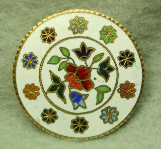 Antique French Enamel Button Colorful Multiple Flowers Design photo