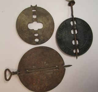 3 Vintage Antique Metal Cast Iron Stove Parts Dampers Arcade & Yankee Brand 6