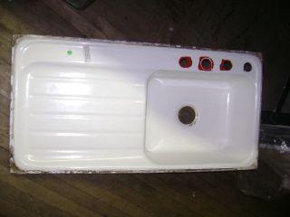 Vintage 1940 ' S American Standard White Cast Iron Sink W/ Drainboard photo