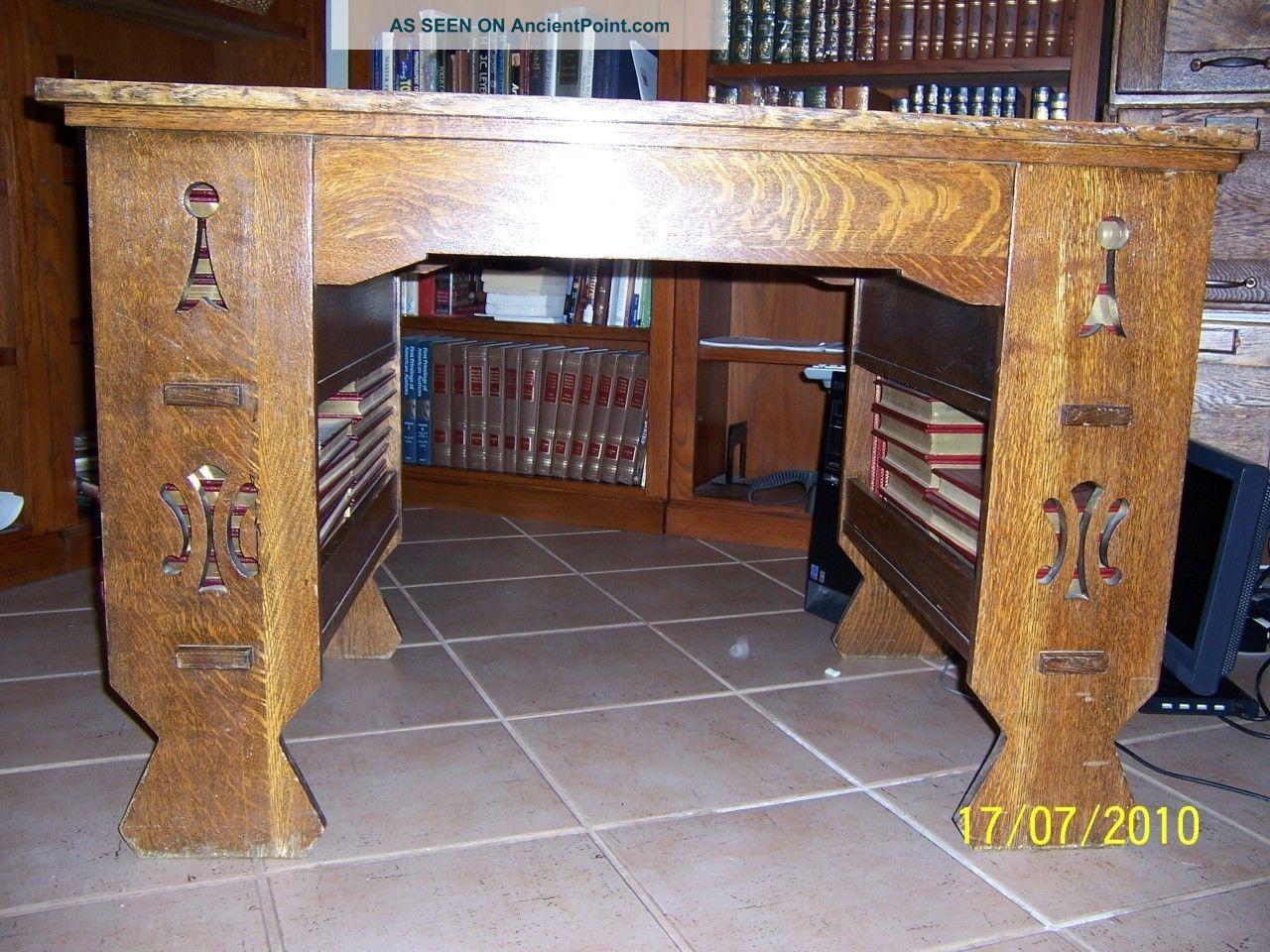 Antique Arts Crafts Mission Solid Tiger Oak Desk With