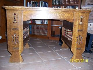 Antique Arts Crafts Mission Solid Tiger Oak Desk With Bookcase Shelves & Cutouts photo
